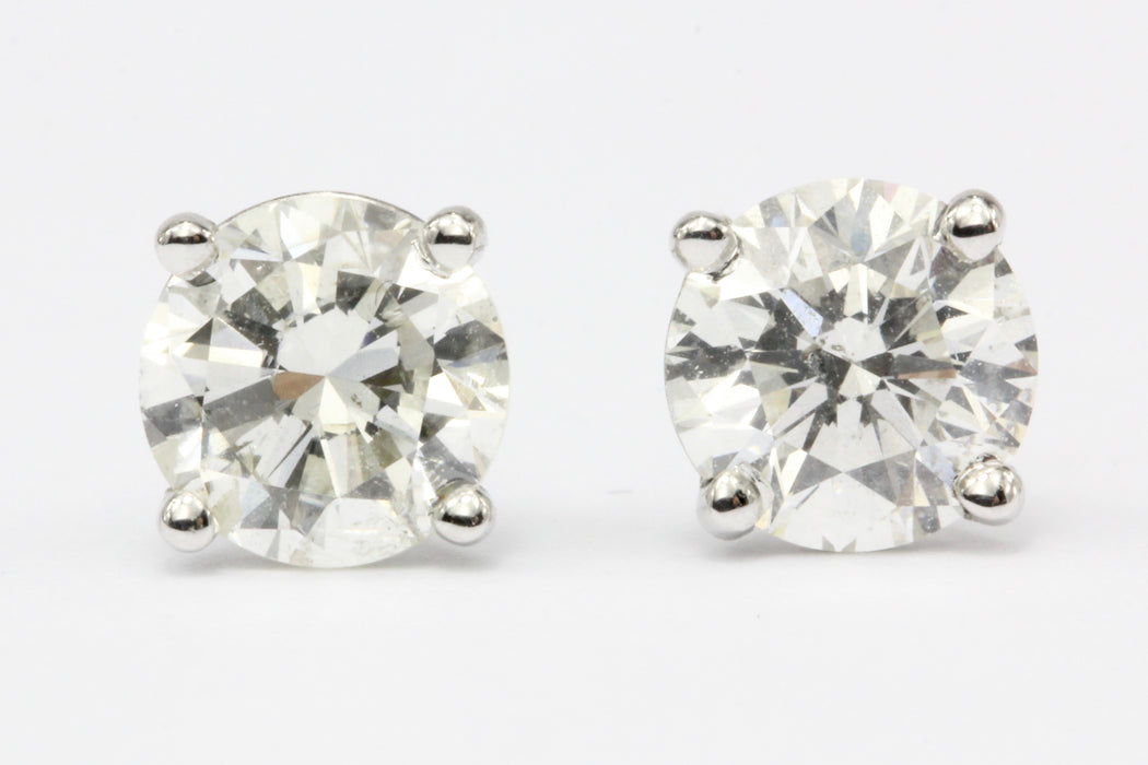 14K White Gold 1.51 CTW Diamond Stud Earrings - Queen May