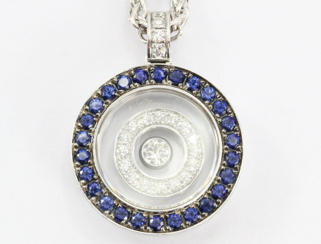 Chopard Happy Spirit Diamond & Sapphire Pendant Necklace 18k Gold - Queen May