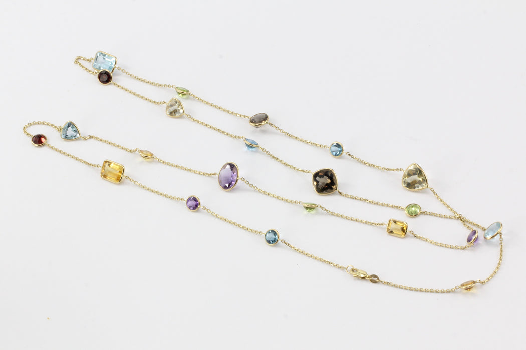 "14K Gold Gemstone Station 36"" Long Necklace"