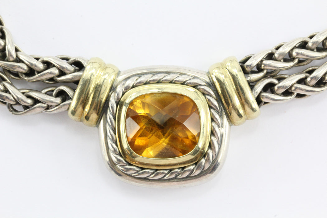 David Yurman 14K Gold & Sterling Silver Double Wheat Citrine Necklace - Queen May