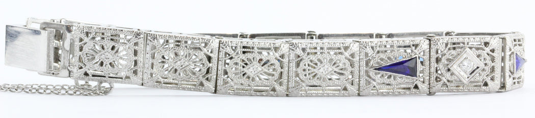 Antique Art Deco 14K White Gold Diamond & Sapphire Pierced Bracelet
