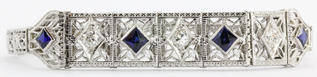 Antique Art Deco 14k White Gold Old Mine Diamond & Sapphire Bracelet - Queen May