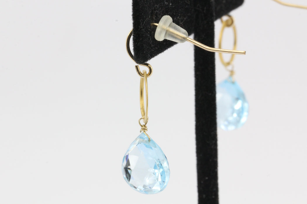14K Yellow Gold Blue Topaz Briolette Drop Earrings