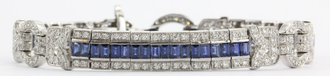 Antique Art Deco 18K White Gold Diamond & Sapphire Tennis Bracelet - Queen May
