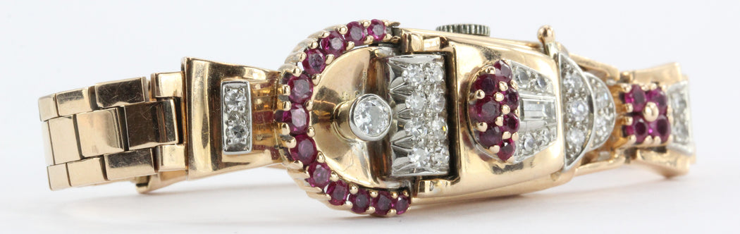 Vintage 1950's Art Deco 14K Rose Gold Diamond & Ruby Swiss Galmor Watch