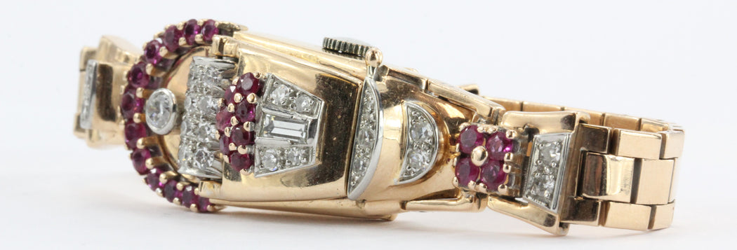 Vintage 1950's Art Deco 14K Rose Gold Diamond & Ruby Swiss Galmor Watch - Queen May
