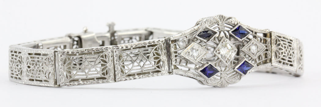 Antique Art Nouveau 14K White Gold Old Mine Cut Diamond & Sapphire Bracelet - Queen May