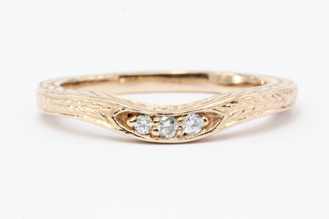 14K Rose Gold Diamond Curved Band Ring Jacket