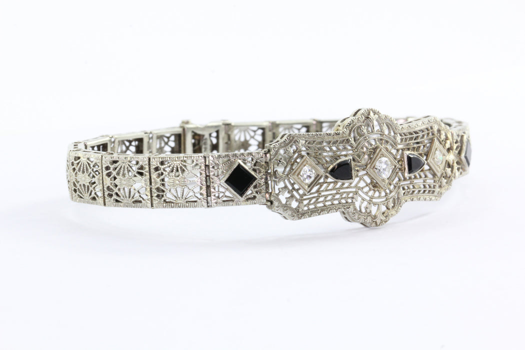 Antique 18K Gold Art Deco Diamond & Onyx Bracelet - Queen May