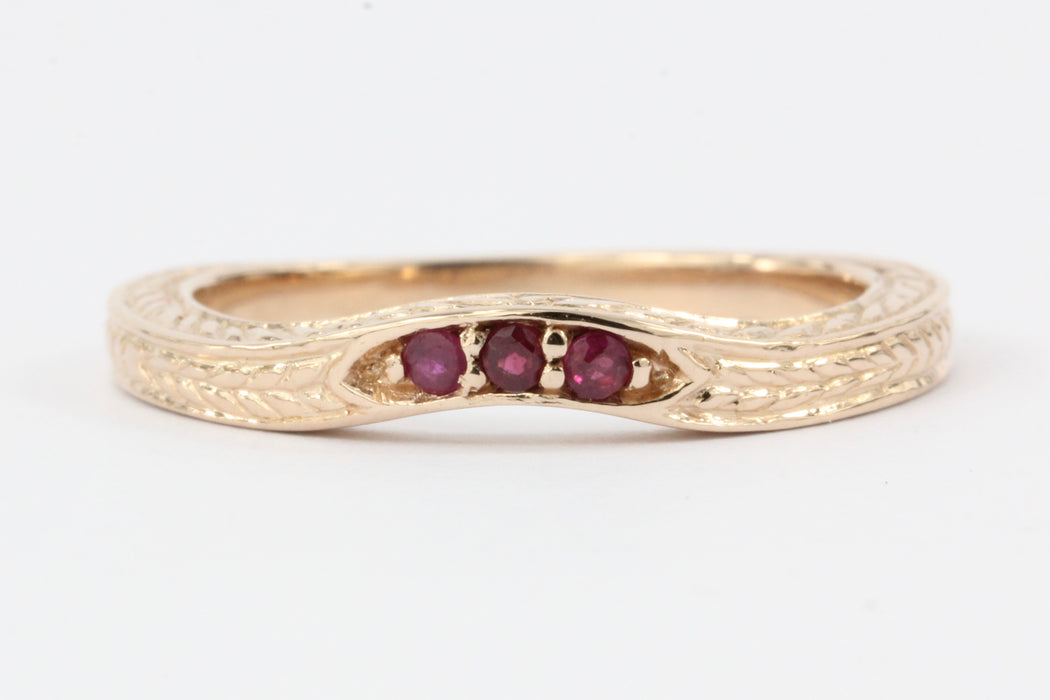 14K ROSE GOLD RUBY CURVED BAND RING - Queen May