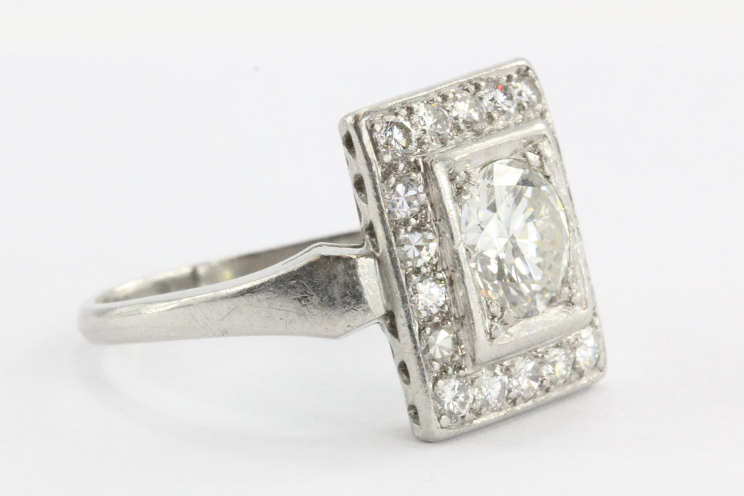 Antique Art Deco Platinum 1.9 Carat Transition Cut Diamond Engagement Ring - Queen May