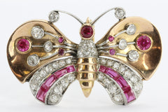Antique Art Deco 18K Gold Diamond & Ruby Butterfly Moth Pendant Walser Wald