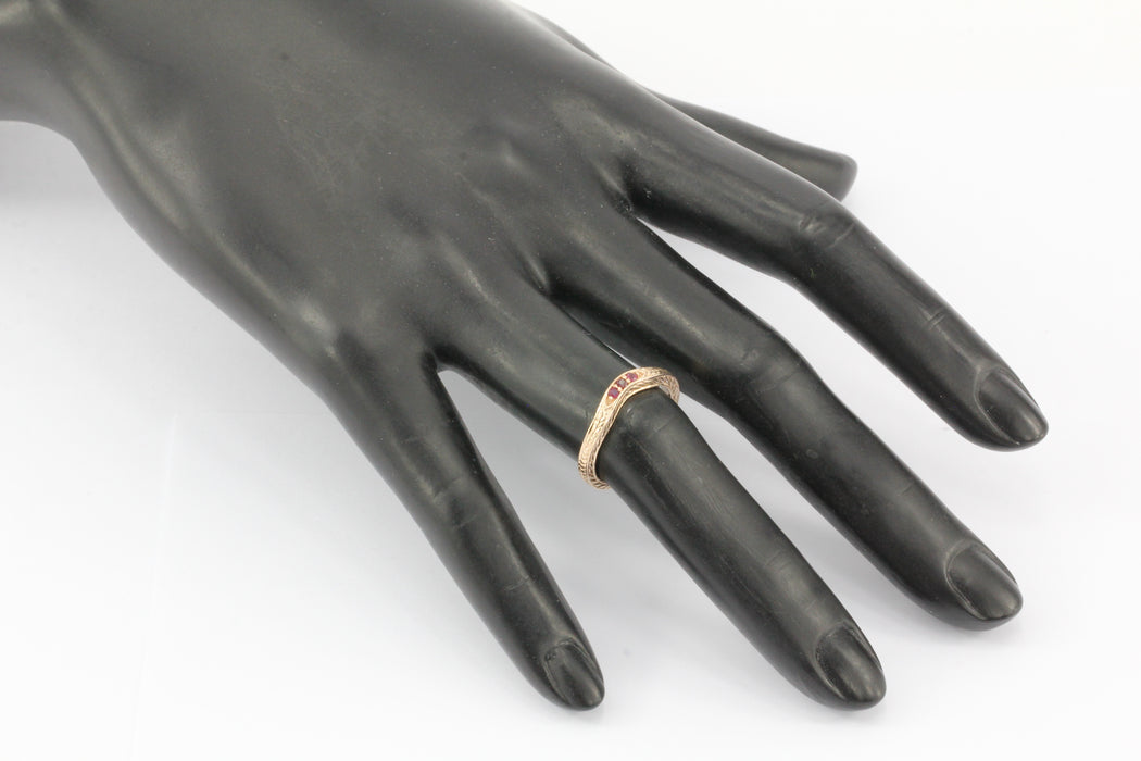14K ROSE GOLD RUBY CURVED BAND RING
