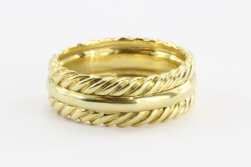 David Yurman 18K Gold Wide Set Cable Band Ring Size 11.5
