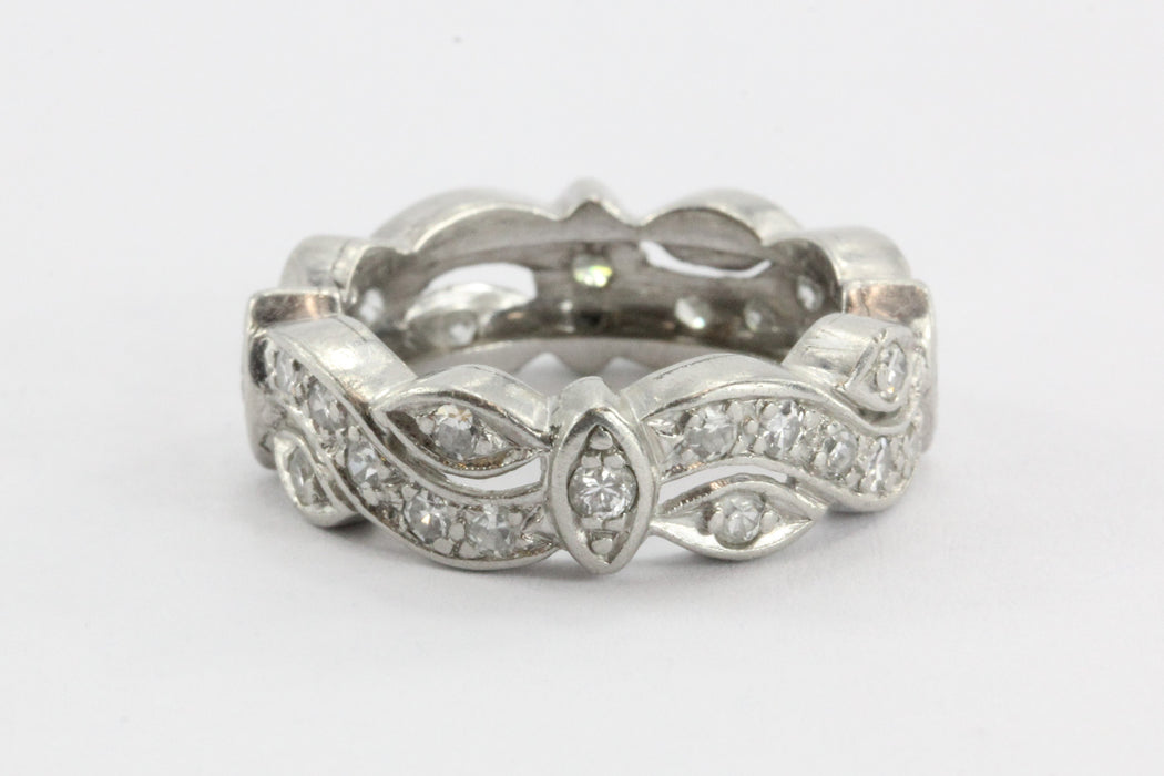 Antique Platinum Art Deco Diamond Eternity Cigar Wedding Approx. 1.20TCW - Queen May