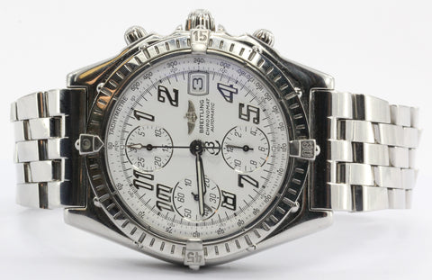 Breitling Chronograph A13050.1 Stainless Automatic White Dial Swiss Watch