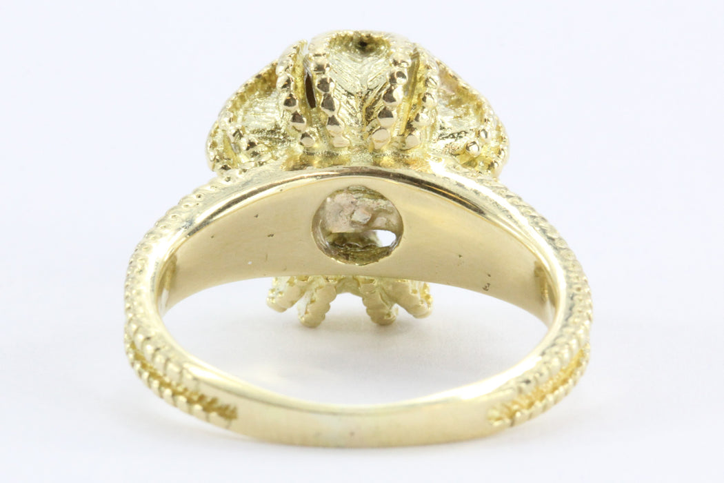 Antique Art Deco Blooming Flower 1.38 CT Diamond Ring 18K Gold