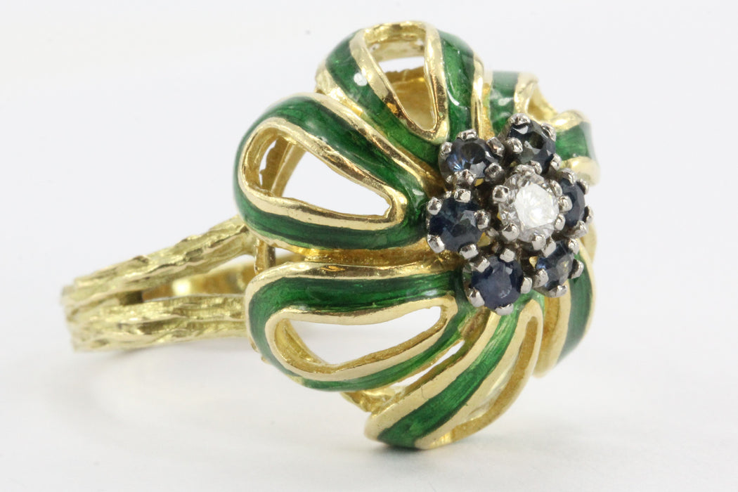 Antique Art Nouveau 18K Gold Enamel Sapphire & Diamond Floral / Flower Ring - Queen May