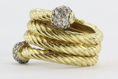 Estate David Yurman 18K Yellow Gold Spiral Serpentine Diamond Ring Size 4.25-4.5