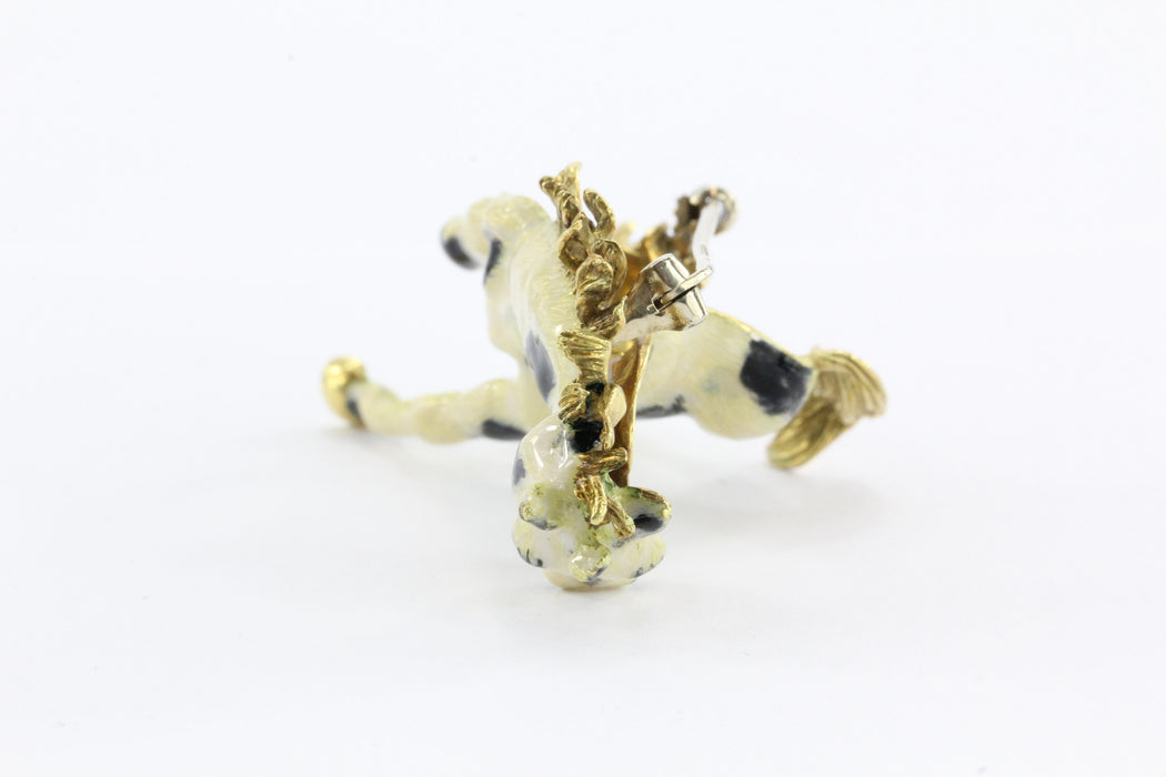 Vintage 18k Gold Enamel & Diamond Paint Horse Figural Heavy Brooch / Pin Signed - Queen May
