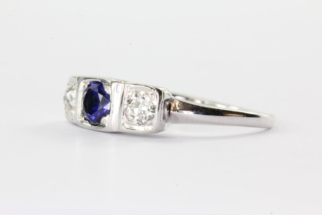 Antique 14K White Gold Old European Diamond & Sapphire Engagement Ring - Queen May