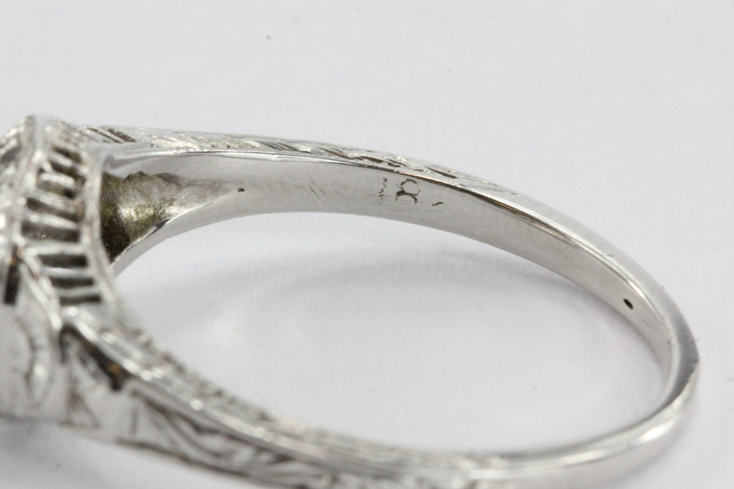 Rare Authentic Antique Art Deco 18K White Gold 1/2 Carat Old European Cut Diamond Engagement Ring - Queen May