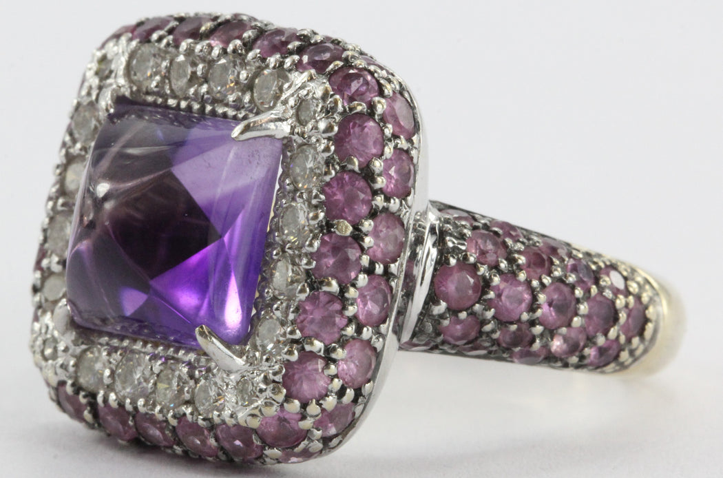 Estate 18k White Gold Amethyst, Diamond, & Pink Sapphire Chunky Ring - Queen May
