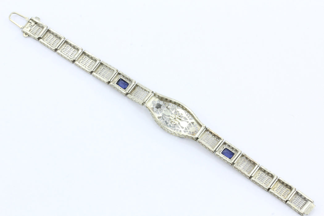 Antique Art Deco 14K White Gold Diamond & Sapphire Otsby & Barton Bracelet - Queen May