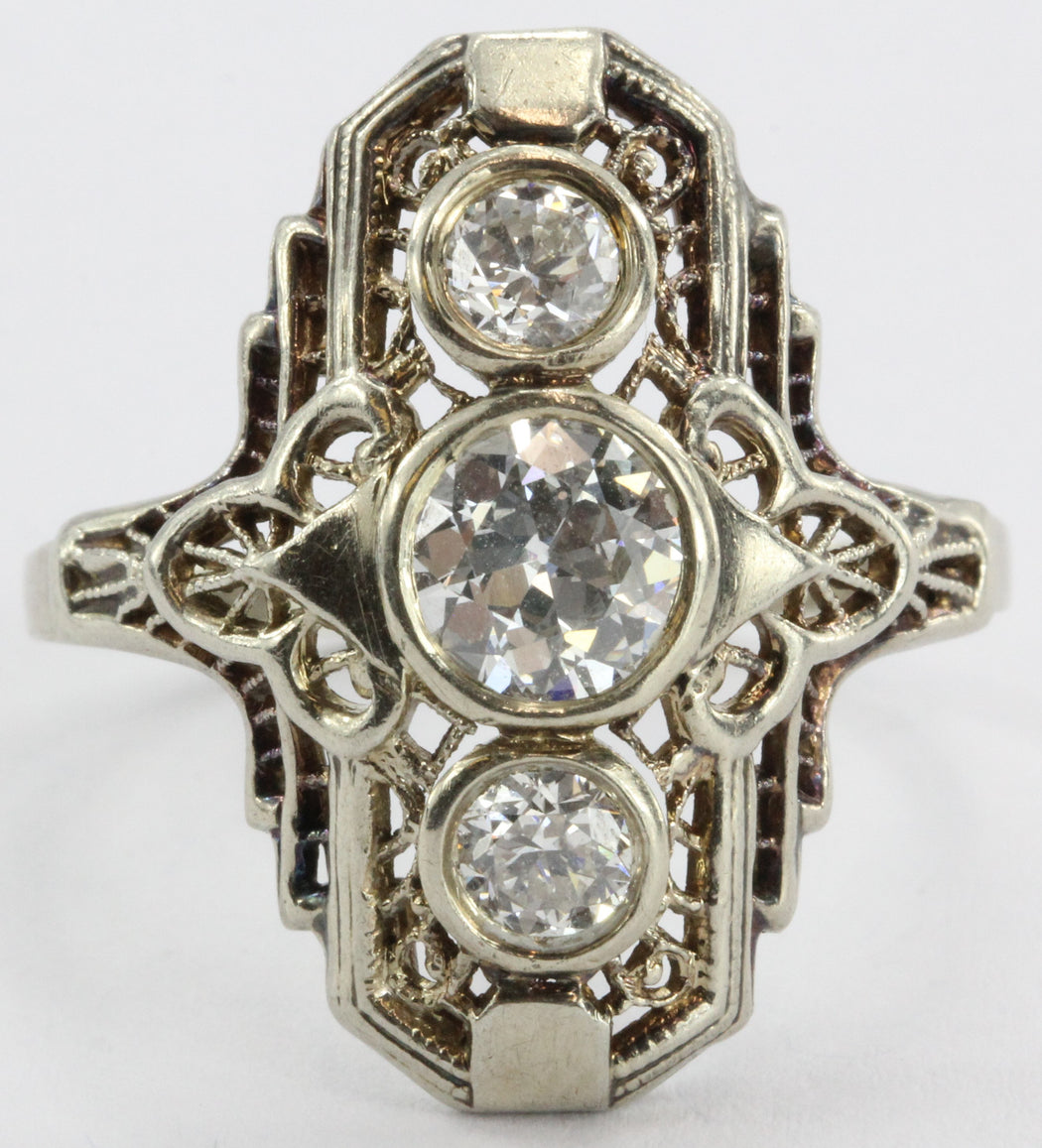 Estate Art Deco Filigree 14k Gold 1.35 carat tw Diamond Engagement Ring