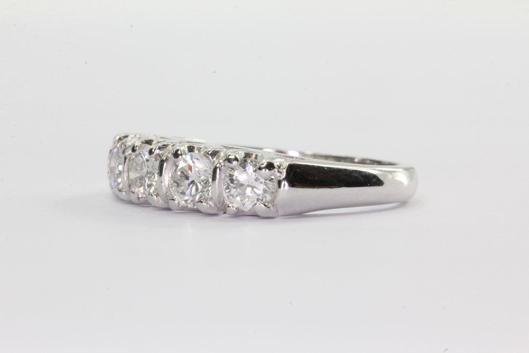 Antique Art Deco Platinum 1 CTW Diamond 5 Stone Anniversary Band Ring Size 6 - Queen May
