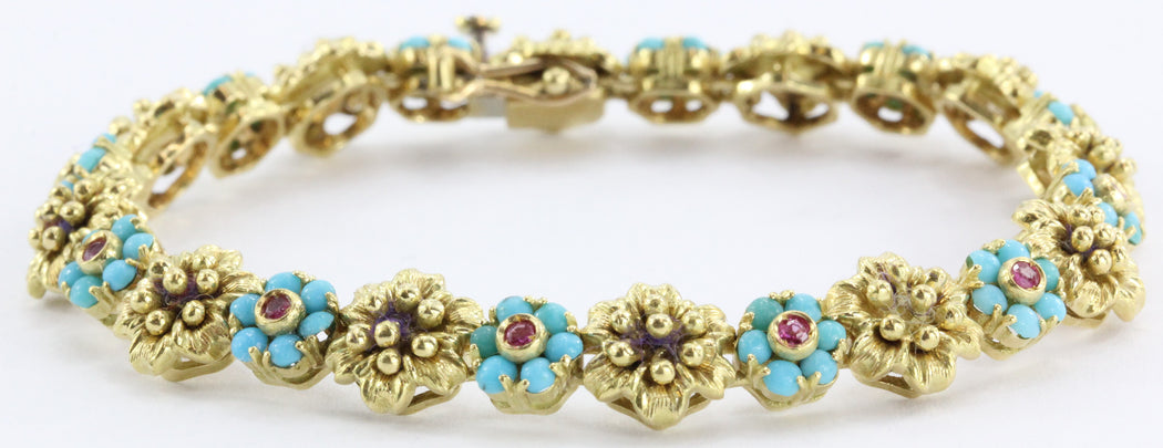Vintage 18k Gold Persian Turquoise Genuine Ruby Floral Motif Bracelet Italy