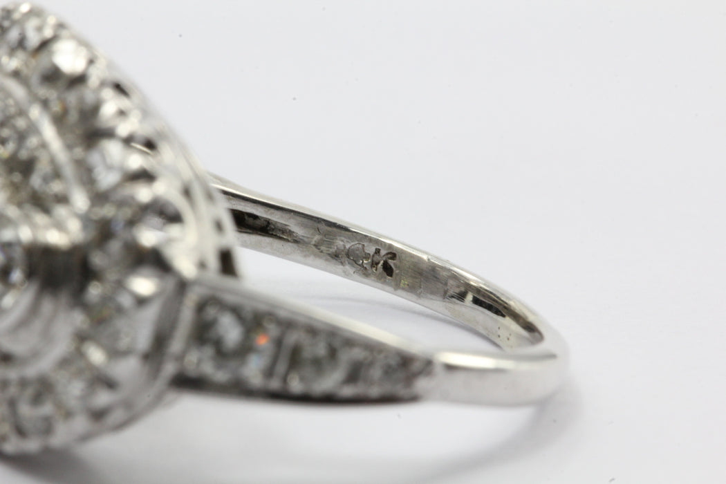 Antique Art Deco 14k White Gold 2 CTW Old European Cut Diamond Engagement Ring - Queen May