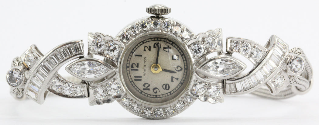Antique Art Deco Platinum 2.5 Carat Total Weight Diamond Hamilton watch with 14k woven gold bracelet - Queen May