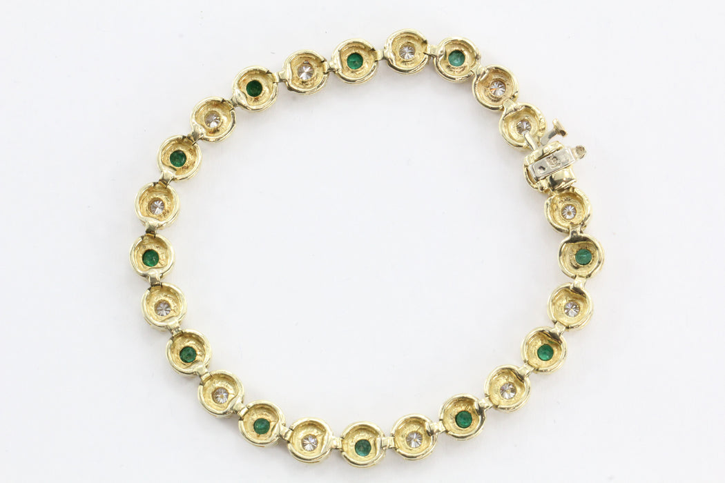 14K Gold Custom Emerald & Diamond Tennis Bracelet 4TCW