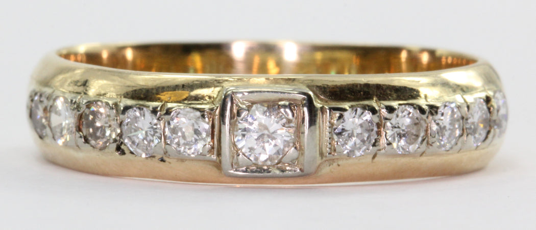 Antique 14K Gold Inset 1/2 TCW Diamond Ring Band Size 8 - Queen May