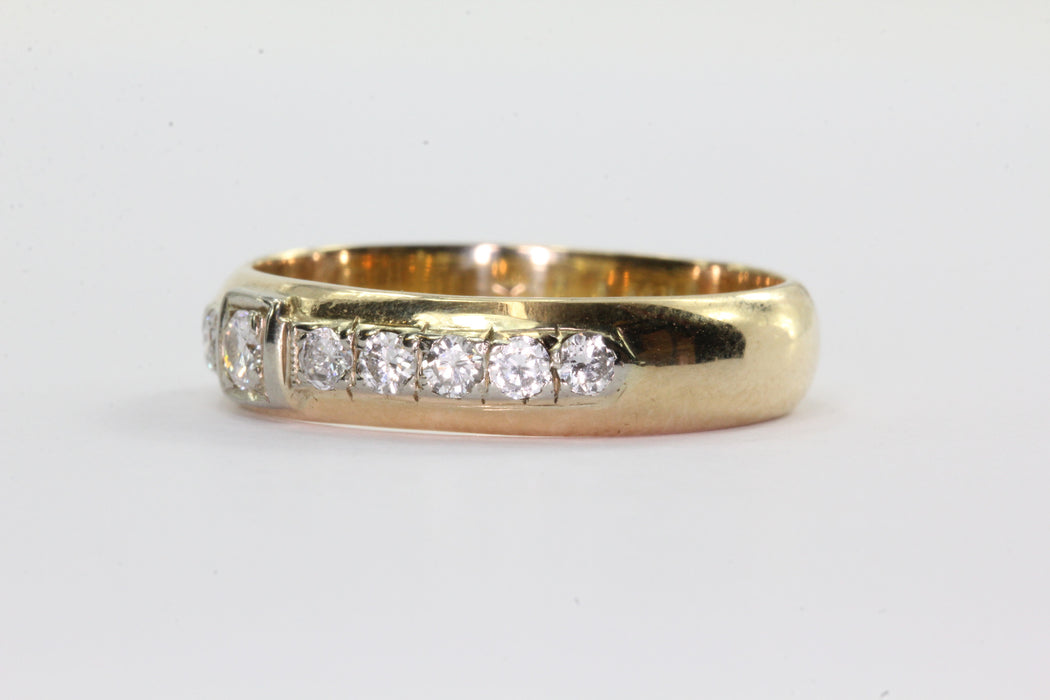 Antique 14K Gold Inset 1/2 TCW Diamond Ring Band Size 8
