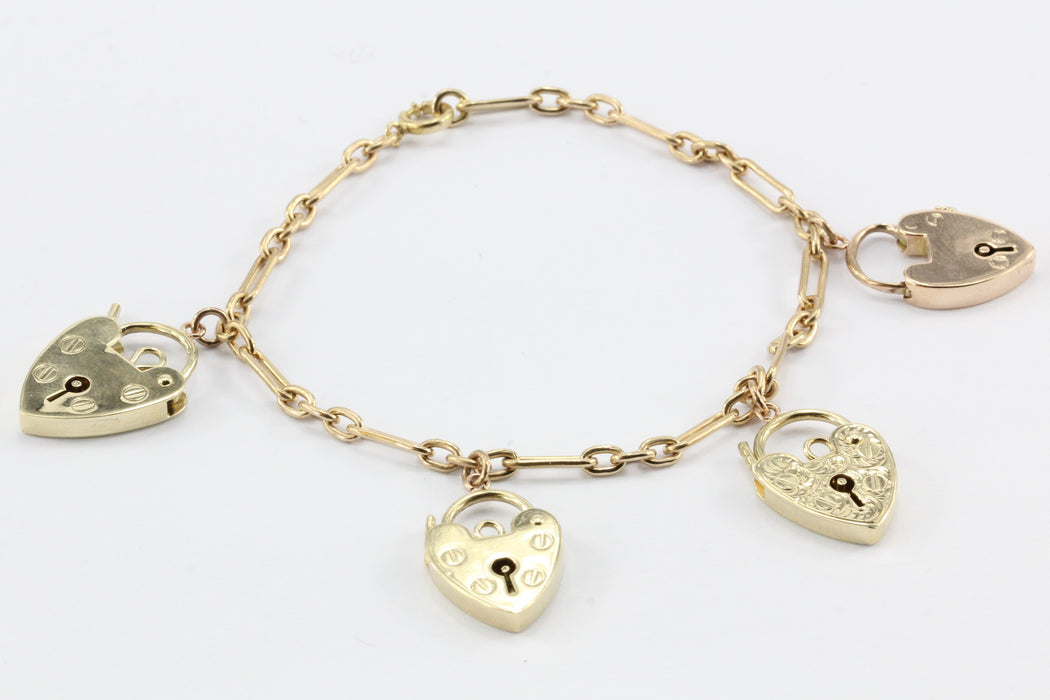 Vintage 14K Gold Bracelet w/ English 9ct Gold Heart Lock Charms - Queen May