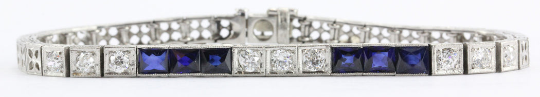 Antique Art Deco Platinum Old Mine Diamond & Sapphire Tennis Bracelet