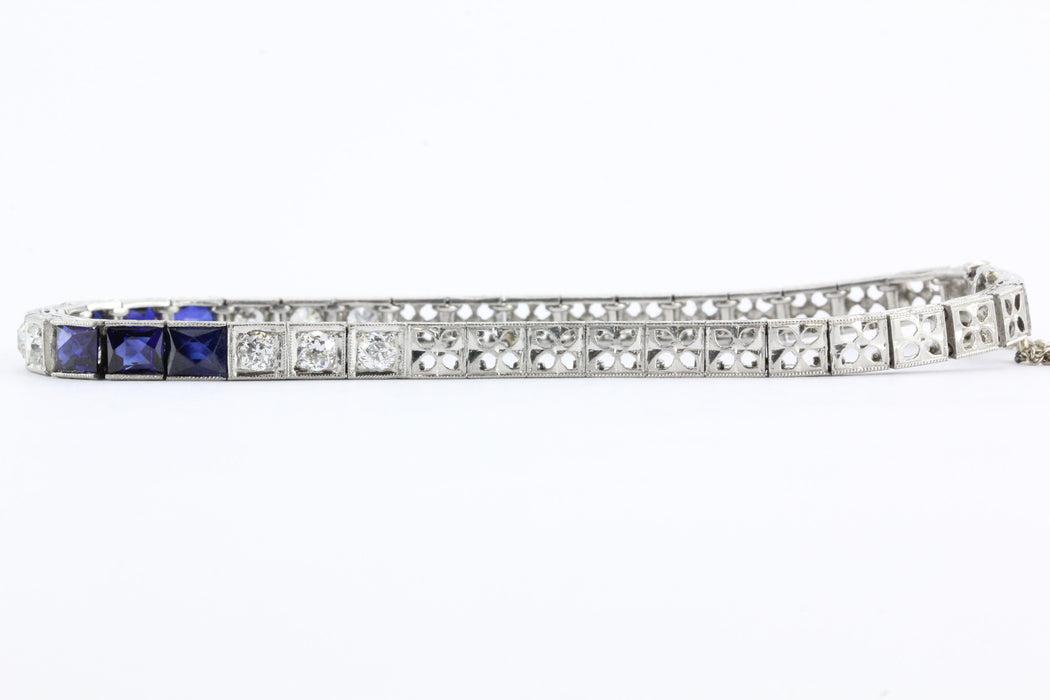 Antique Art Deco Platinum Old Mine Diamond & Sapphire Tennis Bracelet - Queen May