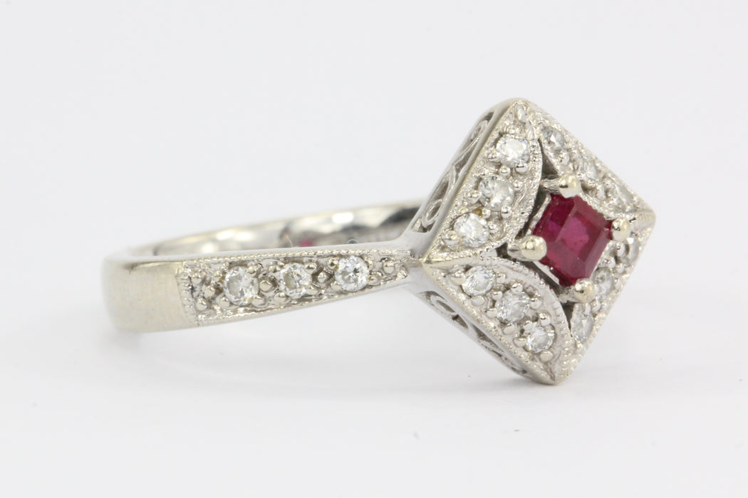 14K White Gold Ruby Diamond Ring - Queen May