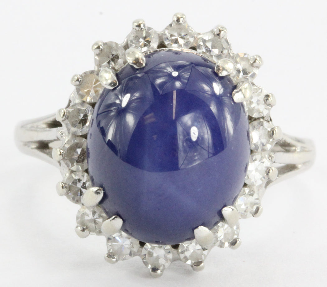 Art Deco Blue Star Sapphire and Diamond Ring. 8 TCW 14K White Gold - Queen May