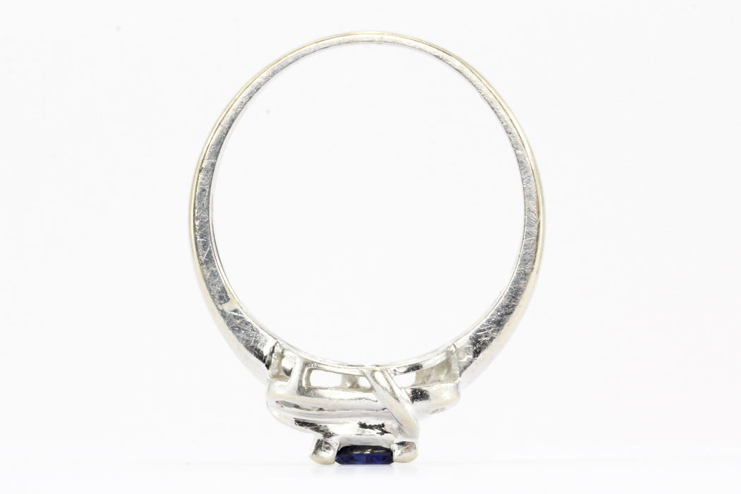 14K White Gold Blue Sapphire & Diamond Frank Lau Ring