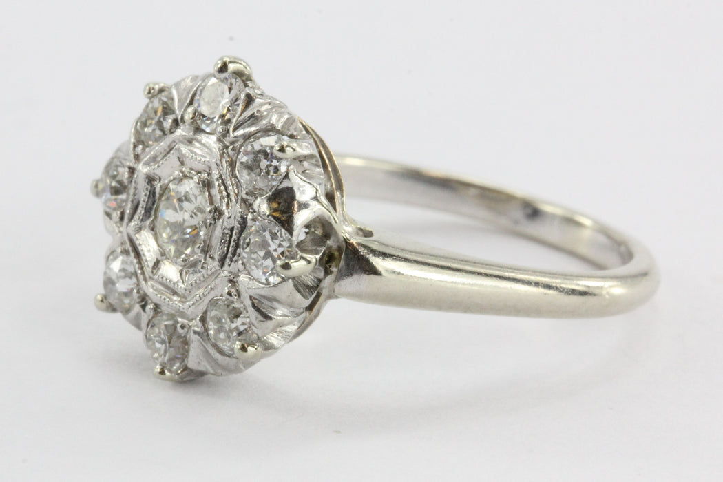 Art Deco 18K White Gold Old European Cut .35 CTW Diamond Engagement Ring - Queen May