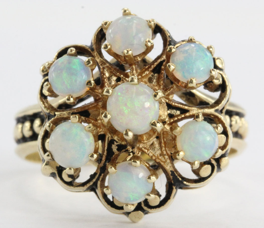 Antique Victorian 14k Gold Fiery Opal Ring Signed - Queen May