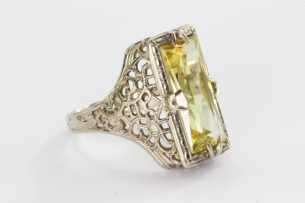 Antique Art Deco 14K White Gold Yellow Sapphire Ring - Queen May