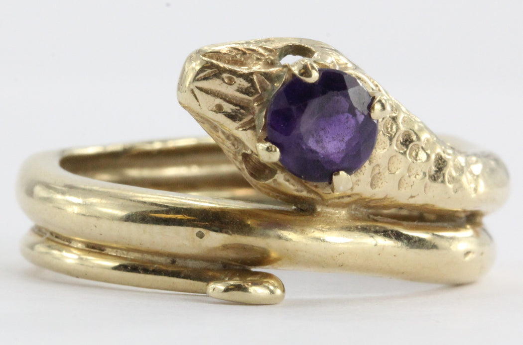 Vintage 14K Gold & Amethyst Figural Gothic Curled Coiled Snake Ring - Queen May