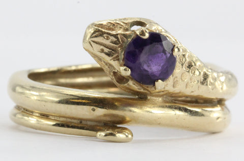 Vintage 14K Gold & Amethyst Figural Gothic Curled Coiled Snake Ring