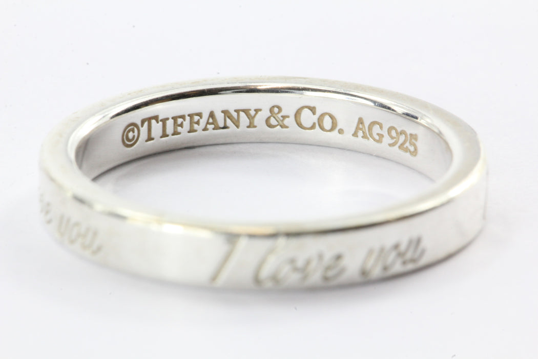 f2c4853d4708 ... Tiffany   Co Sterling Silver I LOVE YOU Band Ring Size 4.75 - Queen ...