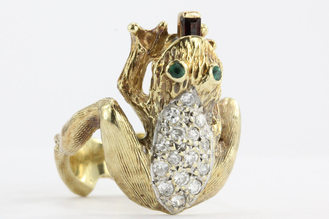 Vintage 14K Gold Diamond & Garnet Whimsical Frog Ring w/ Garnet Tongue - Queen May