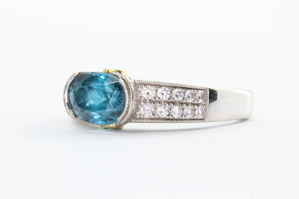 Simon G. 18K Gold London Blue Topaz & Diamond Ring - Queen May